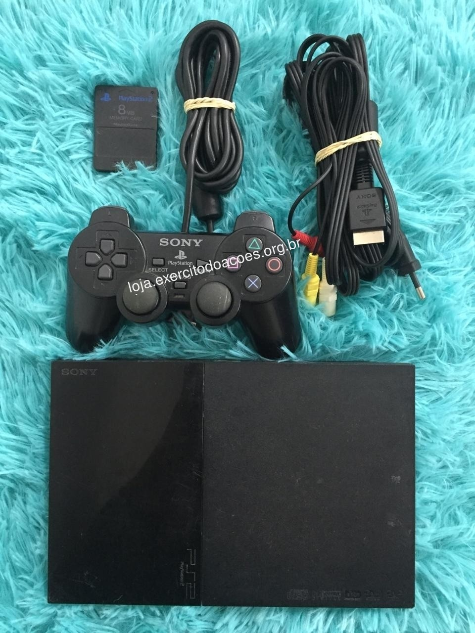 Playstation 2 + 1 Controle + 1 Memory Card